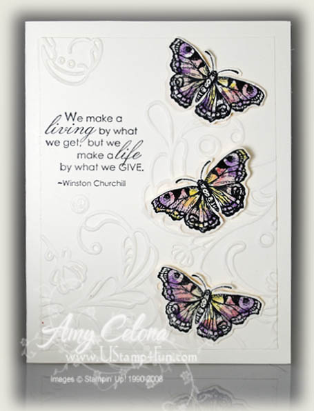 All a Flutter Embossed Card - Ustamp4fun com - Amy Celona