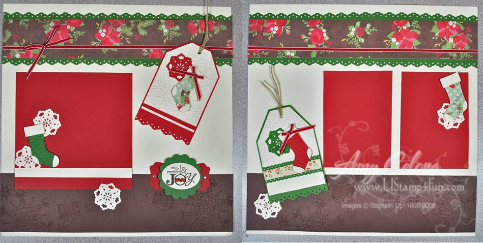 Stampin' Up! Stitched Stockings 12x12 Scrapbook Layout