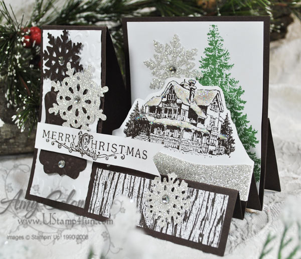 Stampin' Up! Christmas Lodge set 'Stair Step Card'