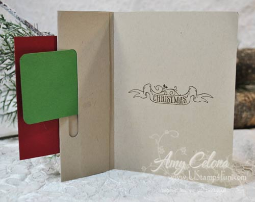 Pines & Poinsettias Gift Card Holder Inside View