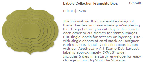 CLICK HERE for 'Labels Collection' Sizzix Framelits Dies